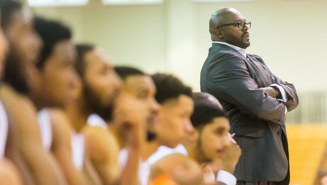 UMES head coach Bobby Collins works his squad against Fairfield on Tuesday evening at the Hytche Center in Princess Anne.