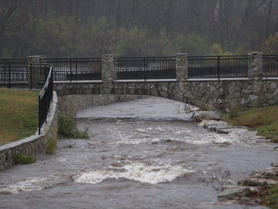 The spillway at Sequiota Park had gushing water on