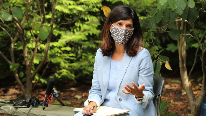U.S. Senate candidate Sara Gideon, a Democrat, leads an hour-long roundtable discussion Tuesday, Aug. 25, 2020, with administrators and clinicians at York Hospital in York, Maine. Her opponent, Republican incumbent U.S. Sen. Susan Collins, visited a York Hospital facility on Friday.