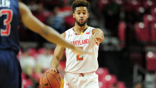 Maryland guard Melo Trimble dribbles the ball in the first half against the Howard.