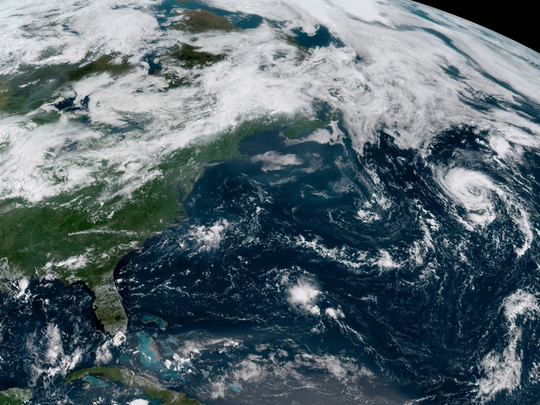 North Atlantic showing Subtropical Storm Debby Aug. 7, 2018.