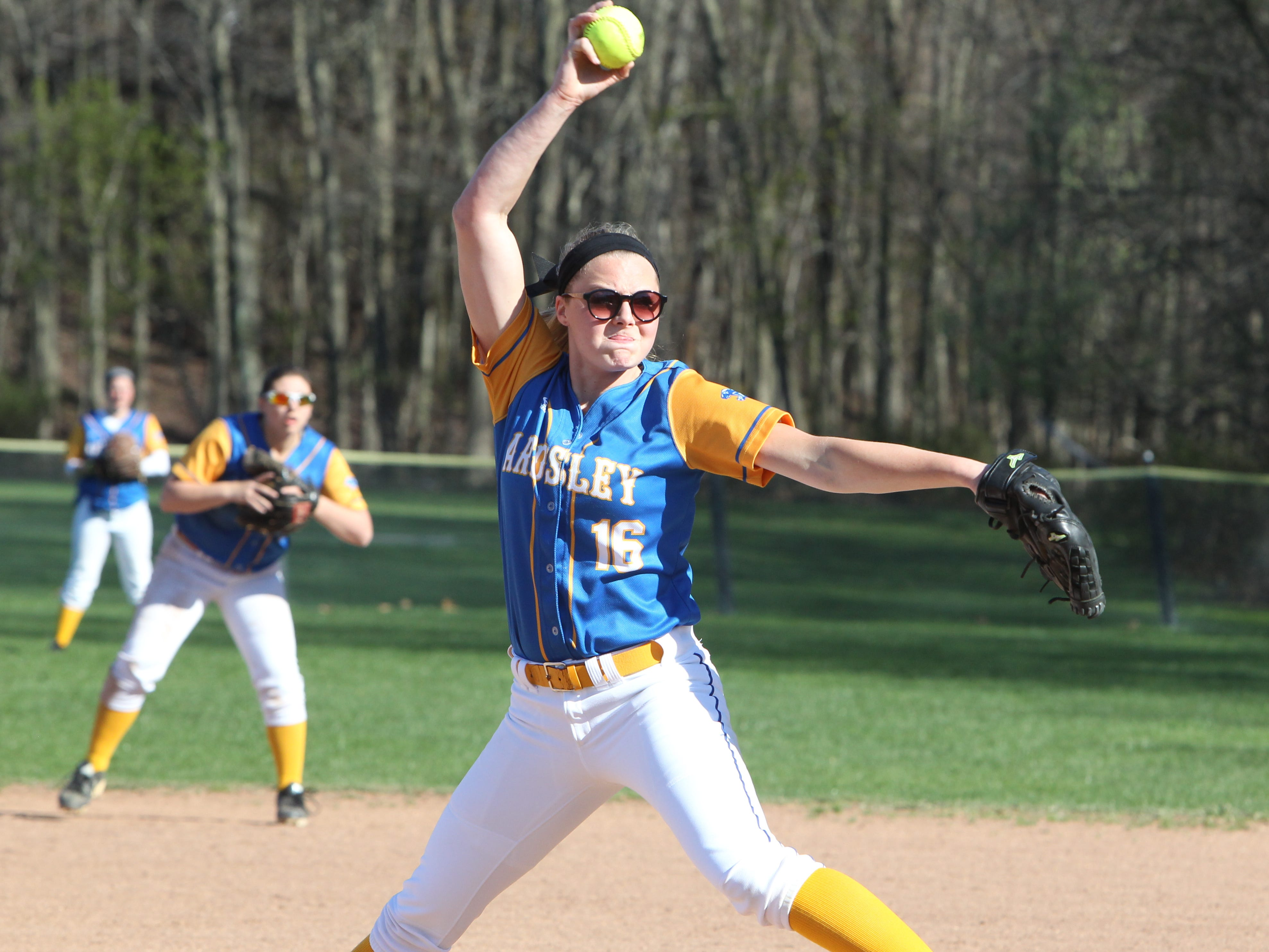 Ardsley pitcher Raina Gorman delivers a pitch during a game at Rye Neck April 28, 2015. Ardsley won 1-0.