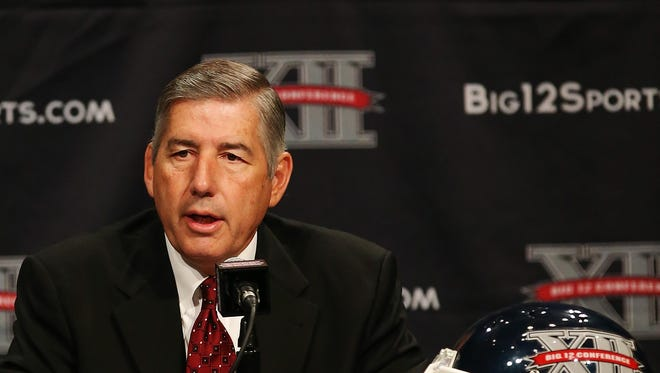 Jul 22, 2013; Dallas, TX, USA; Big 12 commissioner Bob Bowlsby speaks to the media during the Big 12 media days at the Omni Dallas Hotel. Mandatory Credit: Kevin Jairaj-USA TODAY Sports