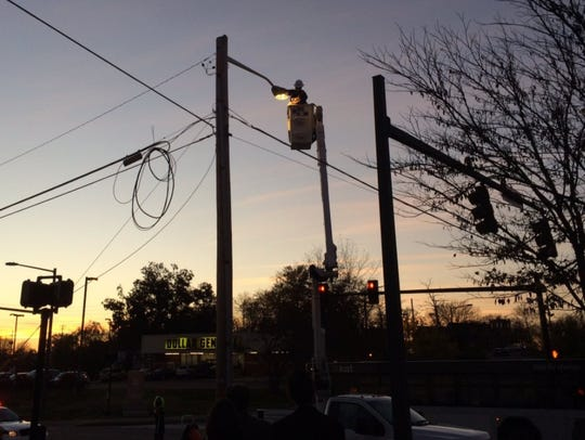 City leaders install the first LED light bulb. When