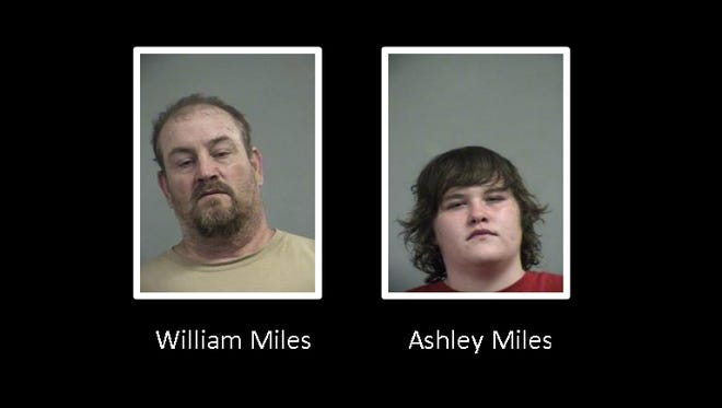 William Miles, left, and his daughter, Ashley Miles, right, are accused of stealing and trying to cash in lottery tickets.