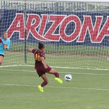 ASU freshman forward Jazmarie Mader scores against New Mexico State on Friday.