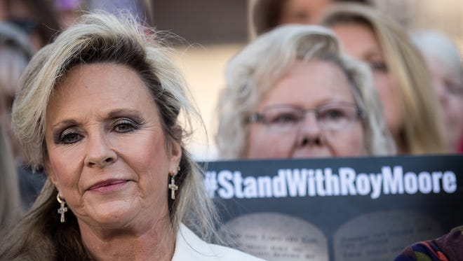 Kayla Moore, wife of Roy Moore, looks on during a 'Women For Moore' rally in support of Republican candidate for U.S. Senate Judge Roy Moore, in front of the Alabama State Capitol, Nov. 17 in Montgomery, Alabama.