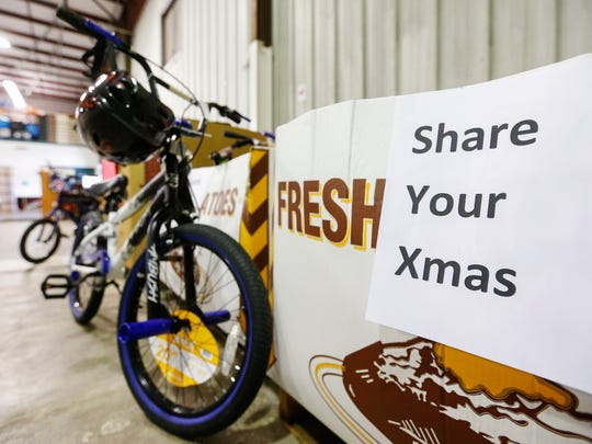 Items like these bicycles are being tagged for a family in need at Crosslines for the Share Your Christmas Program.