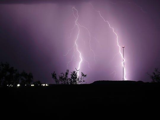 Thunderstorms bringing rain and an impressive light