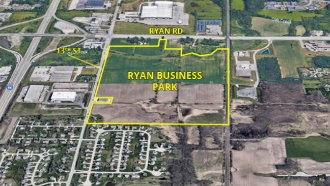 Ryan Business Park is planned for south of West Ryan Road and east of South 13th Street, in Oak Creek.