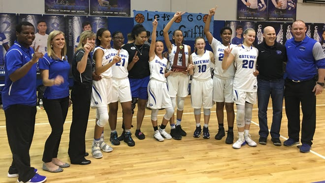 Gateway Charter beat Bishop Verot 37-34 in the District 5A-10 final Friday, Feb. 9, 2018 for its first district title in any sport since 2009 and first in a girls sport in school history.