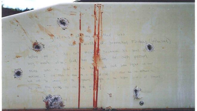 The writings on the inside of the boat where suspected Boston Marathon bomber Dzhokhar Tsarnaev hid during the manhunt for him.