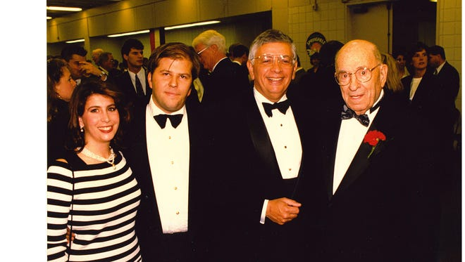 New Rhinos owners Wendy and David Dworkin, far left, met then-NBA commissioner David Stern and former Rochester Royals owner, Les Harrison,  far right, at the basketball Hall of Fame. This picture was taken in May of 1996. Harrison died 19 months later at the age of 93.