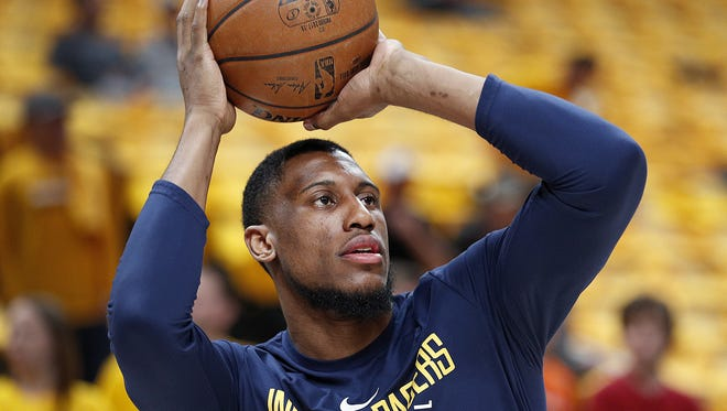 Indiana Pacers forward Thaddeus Young (21) warms up before their game against the Cleveland Cavaliers at Bankers Life Fieldhouse on Friday, April 27, 2018.
