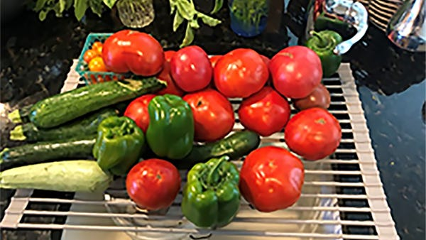 Tomatoes, peppers and zucchini are some of the vegetables to enjoy from the summer garden.