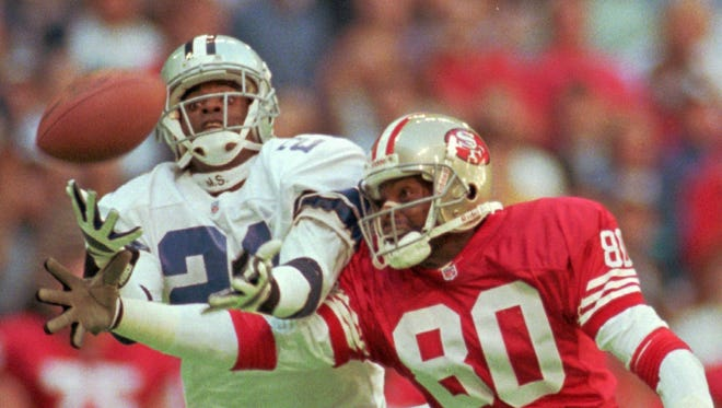 CB Deion Sanders and WR Jerry Rice (80) have had many battles over the years.