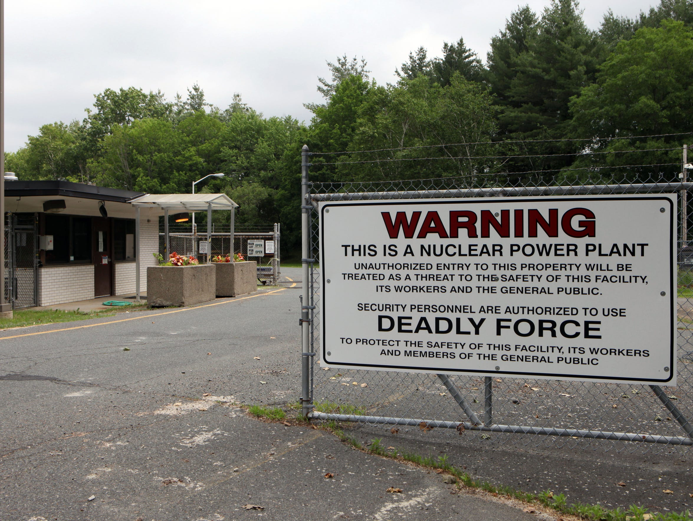 The entry gate warning sign at the Vermont Yankee Nuclear