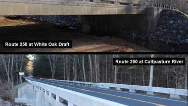 The two new bridges in Augusta County that have reopened on U.S. 250 at White Oak Draft and Calfpasture River.