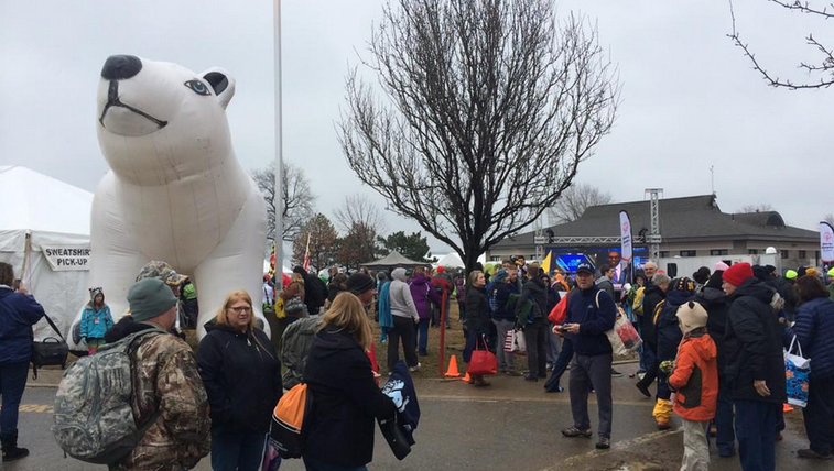 Thousands take part in the  2015 Polar Bear Lunge.