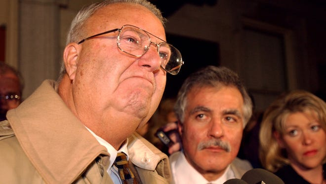 Former York Mayor Charlie Robertson speaks to the media after he was acquitted in the murder of Lillie Belle Allen in 2002.