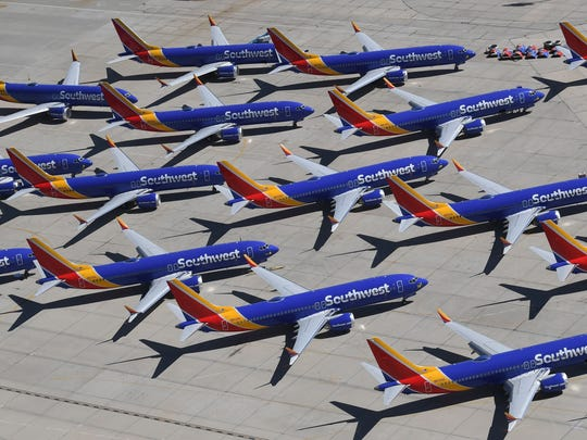 Southwest Airlines Boeing 737 MAX aircraft are parked