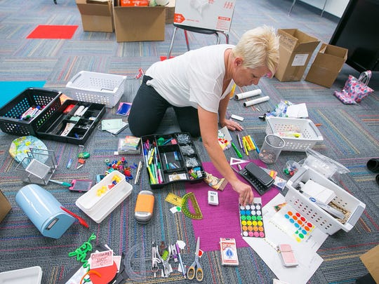 Teacher Joni Campbell prepares for her math class for