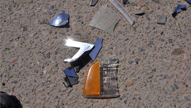 The FBI has released this photograph of debris from a hit-and-run crash that killed a woman on the Navajo Nation in April. A $1,000 reward is being offered for information that leads to the arrest of the driver responsible for the crash.