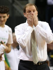 Oregon head coach Dana Altman reacts during the first half of an NCAA college basketball game against Southern California, Thursday, Jan. 21, 2016, in Eugene, Ore. (AP Photo/Chris Pietsch) AP
