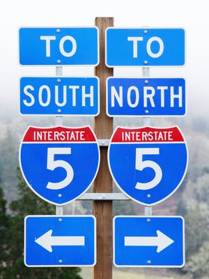 Sign to north and south bound lanes of Interstate 5 in Southern Oregon.
