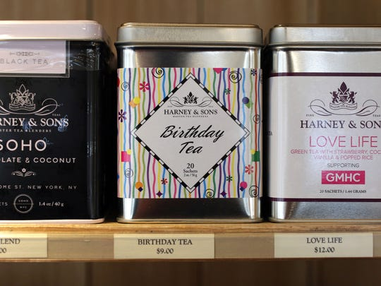 Tins of tea in the store at Harney & Sons Tea on Main
