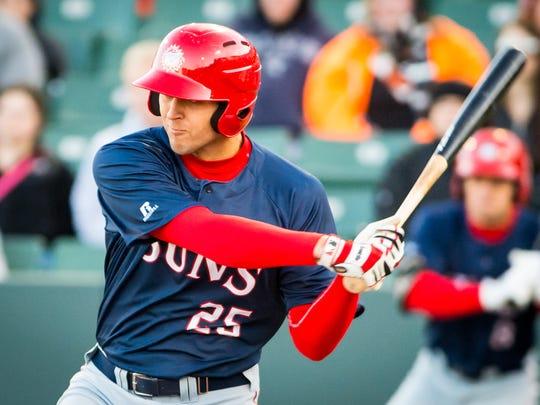 Hagerstown Suns first baseman Ryan Ripken (25) takes