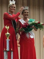 Jordan Simpson, the winner of the Henderson County Fair's Miss Henderson Pageant, is crowned onstage at North Middle School.