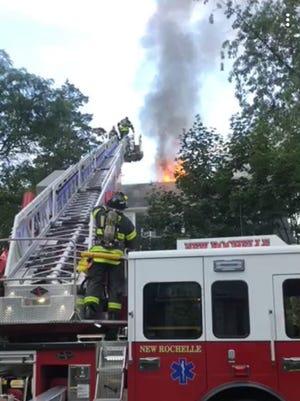 New Rochelle firefighters battled a three-alarm blaze.