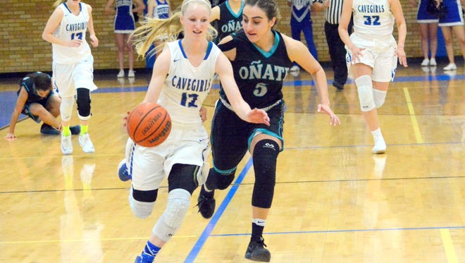 Carlsbad's Carsyn Boswell gets a steal and bolts toward the basket in the first quarter Wednesday against Oñate.