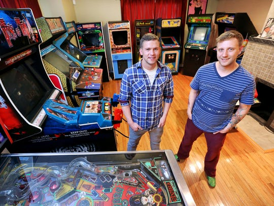 Austin Howard, left, and Jeff Moulton plan on opening Indy's first arcade bar, Tappers. Tappers Arcade Bar would be a first in the city with retro arcade games where people can play for free and enjoy a local craft beer.
