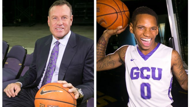 Grand Canyon University men's basketball coach Dan Majerle and guard DeWayne Russell.
