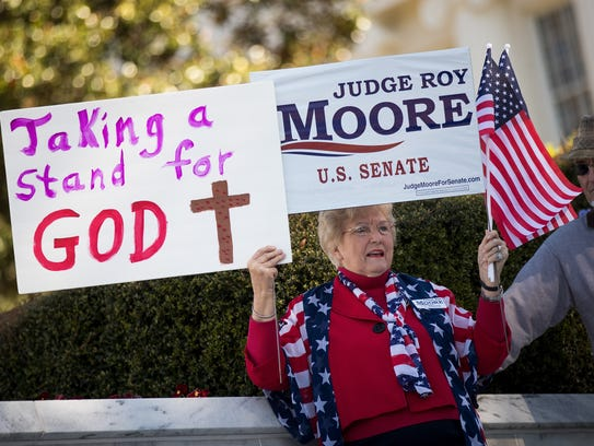 "Patricia Riley Jones attends a ""Women For Moore"" rally"