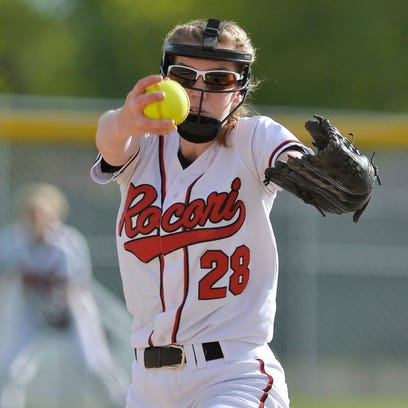 Rocori's Megan Gavin watches the ball during an at-bat in their second game of a double header against Fergus Falls Tuesday, May 17, at Rocori High School in Cold Spring.