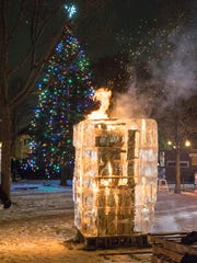 Fire and Ice. A wood fire blaze inside a cage of ice.