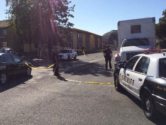 This apartment complex on the 2000 block of Arden Way in Sacramento cordoned off after a Sacramento County sheriff's deputy was shot, Oct. 24, 2014