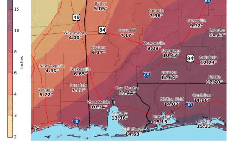 The National Weather Service in Mobile is forecasting a week of heavy rains, with more than 15 inches of rain projected for the Pensacola area Tuesday through Saturday.