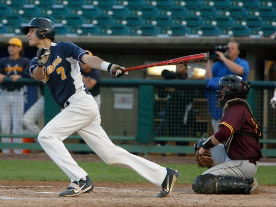 Toms River North's Brendan Mullins lines a single against