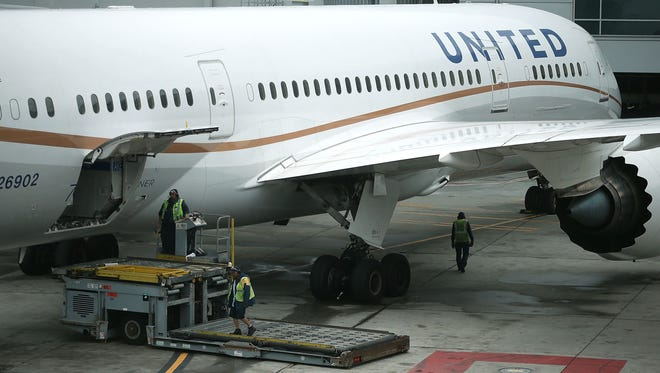 A United Airlines plane on June 10, 2015 in San Francisco.