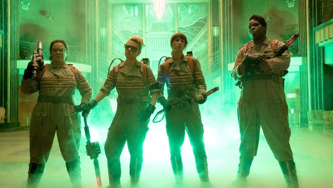 The Ghostbusters - (L-R) Abby (Melissa McCarthy), Holtzmann (Kate McKinnon), Erin (Kristen Wiig) and Patty (Leslie Jones) inside the Mercado Hotel Lobby in Columbia Pictures' motion picture 'Ghostbusters.'