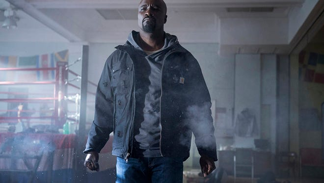 "Mike Colter stars in ""Luke Cage,"" coming Sept. 30,  on Netflix. (Myles Aronowitz/Netflix)"