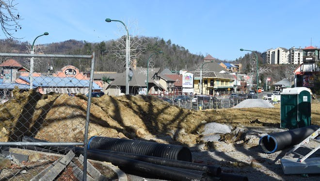Construction on the 500 block of the Parkway in downtown Gatlinburg Friday, December 22, 2016.