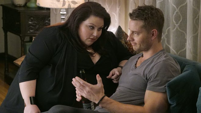 Paul Drinkwater, NBC Kate (Chrissy Metz) and Kevin (Justin Hartley) find they have a hang-up in common. Kate (Chrissy Metz), left, and Kevin (Justin Hartley) are sibling comrades, not rivals.