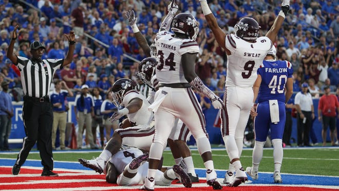 Mississippi State's Montez Sweat (9) and Mississippi State's Cory Thomas (34) celebrate as blocked punt for a score. Mississippi State and Louisiana Tech played in a college football game on Saturday, September 9, 2017 at Joe Aillet Stadium in Ruston, La. Photo by Keith Warren (Mandatory Credit)