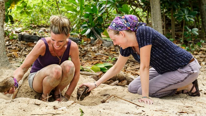 """Angela Perkins and Kellyn Bechtold in a scene from """"Survivor: Ghost Island."""""""