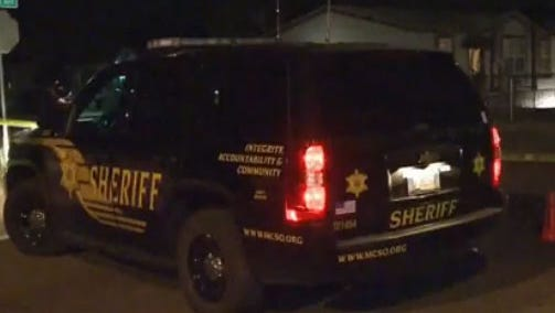 Deputies on the scene of a shooting near Crismon and Broadway roads in Mesa.